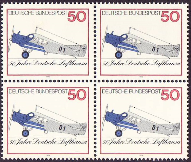 Germany Scott 1207, MNH, Block of 4, BL4, Lufthansa 50th Anniver