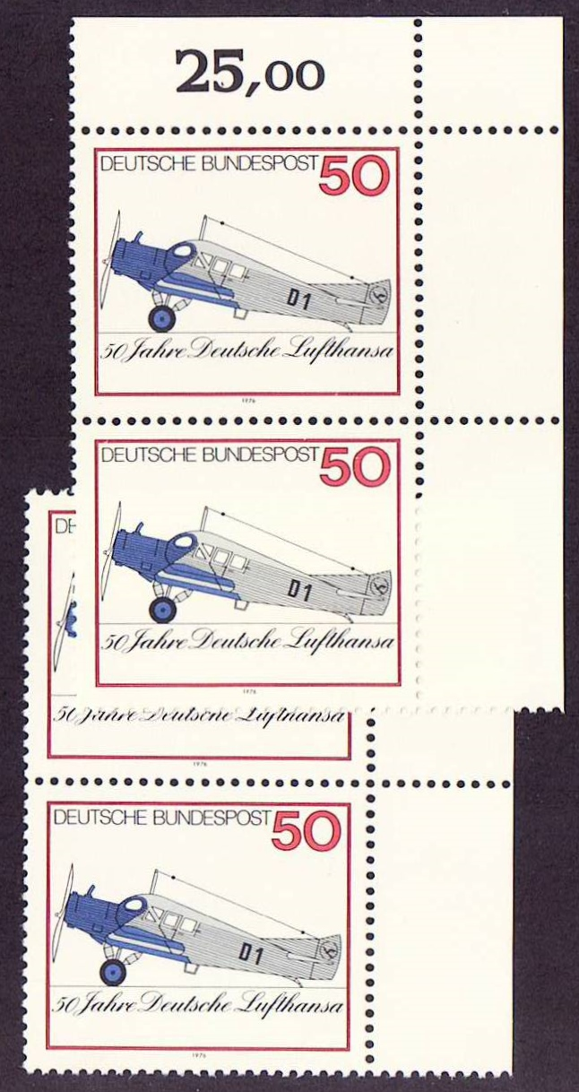 Germany Scott 1207, MNH, 2 pairs, Lufthansa 50th Anniversary