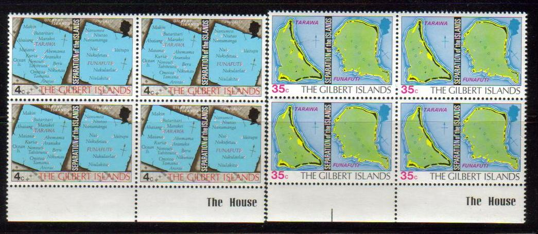 Gilbert Scott 267-2, MNH, Block of 4, BL4, Map of the island, se