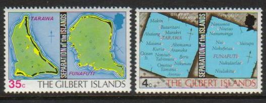 Gilbert Scott 267-2, MNH, Map of the island, set of 2