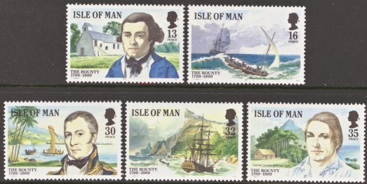 Isle of Man MNH Scott 389-393, 1989 The Bounty, complete set of