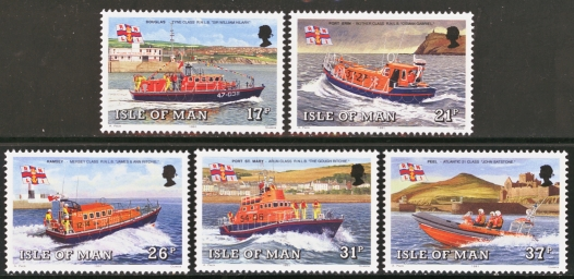 Isle of Man MNH Scott 463-467, 1991 Lifeboats complete set of 5