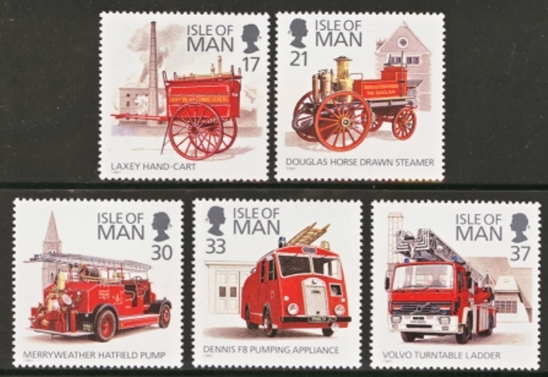 Isle of Man MNH Scott 477-481, 1991 Fire Engines, complete set o