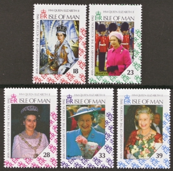Isle of Man MNH Scott 494-498, 1992 Anniversary of Queen's Acces