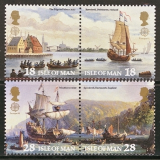 Isle of Man MNH Scott 505-508, 1992 Europa, steam boats, set of