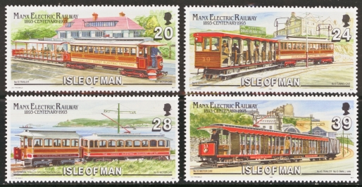 Isle of Man MNH Scott 554-557, 1993 Electric Railway and trains,