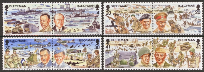 Isle of Man MNH Scott 600-607, 1994 D Day, complete set of 4 pai