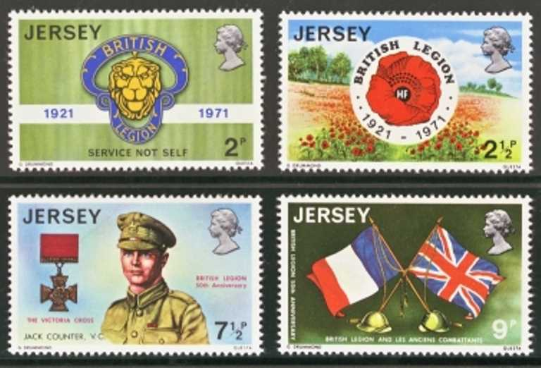 Jersey Scott 0053-0056, MNH, 1971 British Legion
