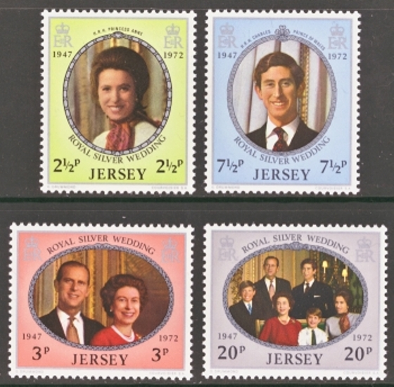 Jersey Scott 0073-0076, MNH, 1972 Silver Wedding