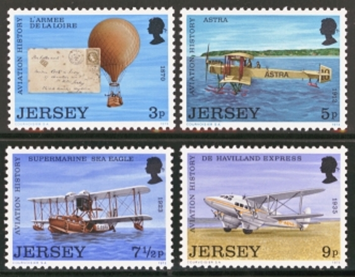 Jersey Scott 0081-0084, MNH, 1973 Aviation, set of 4