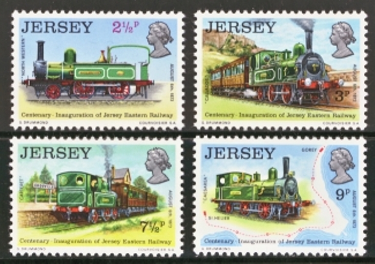 Jersey Scott 0085-0088, MNH, 1973 Railway, set of 4