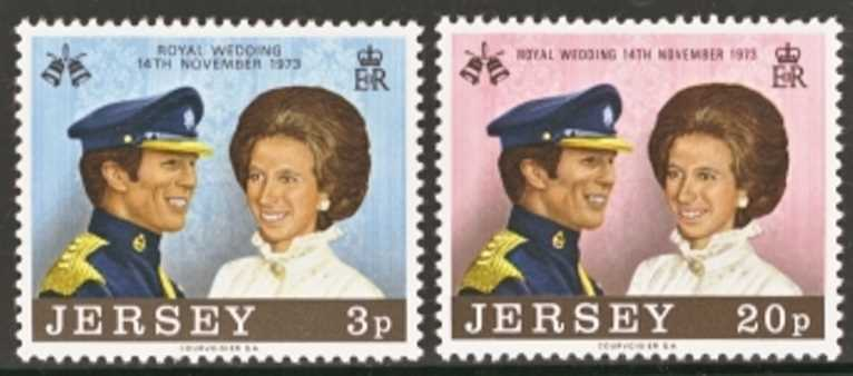 Jersey Scott 0089-0090, MNH, 1973 Royal Wedding