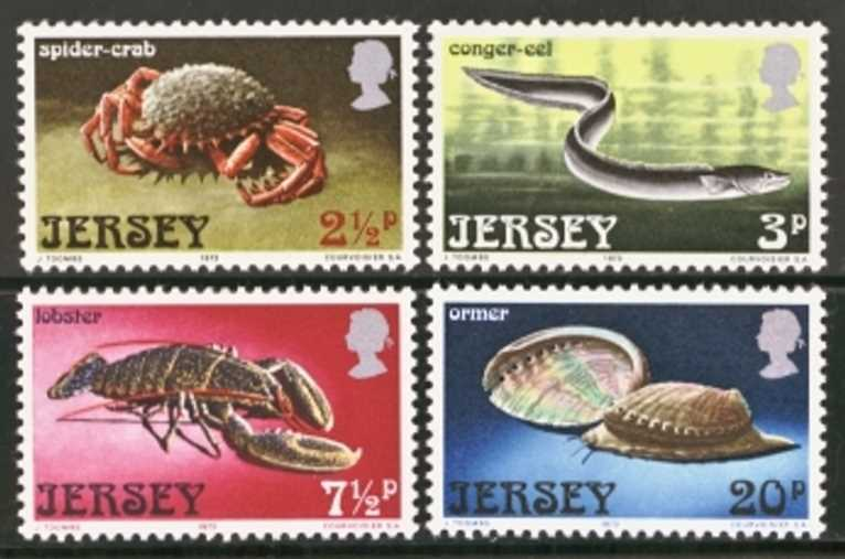 Jersey Scott 0091-0094, MNH, 1973 Marine Life, set of 4