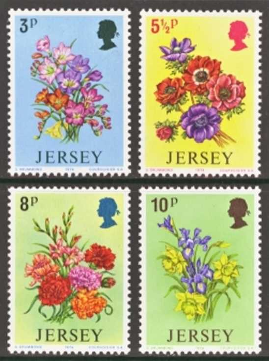 Jersey Scott 0095-0098, MNH, 1974 Flowers, set of 4