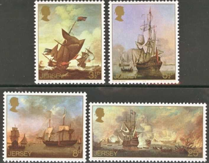 Jersey Scott 0116-0119, MNH, 1974 Paintings, set of 4