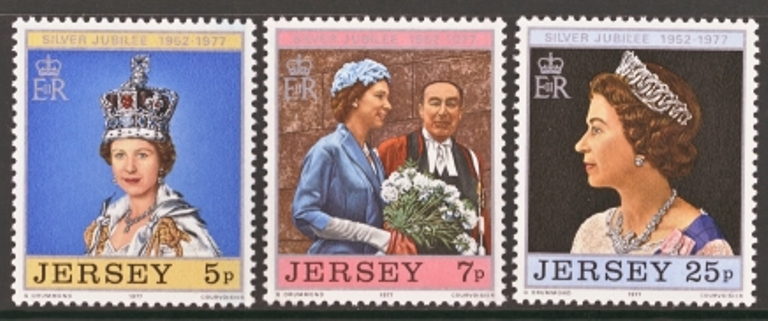 Jersey Scott 0168-0170, MNH, 1977 Silver Jubilee set of 4