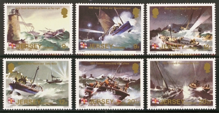 Jersey Scott 0330-0335, MNH, 1984 Lifeboat, set of 6