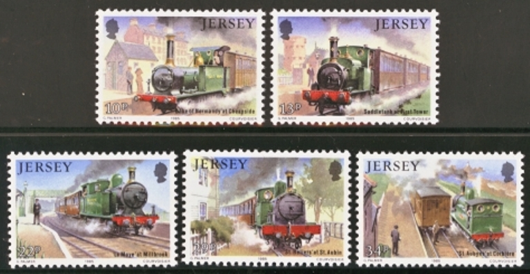 Jersey Scott 0361-0365, MNH, 1985 Railways, Trains, set of 5
