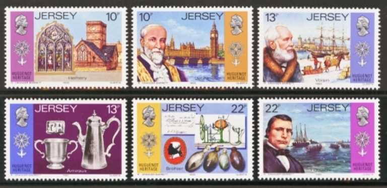 Jersey Scott 0366-0371, MNH, 1985 Huguenot, set of 6