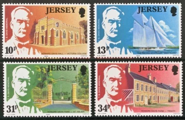Jersey Scott 0372-0375, MNH, 1985 T B Davis set of 4