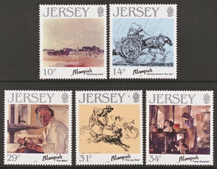 Jersey Scott 0406-0410, MNH, 1986 Paintings, set of 5