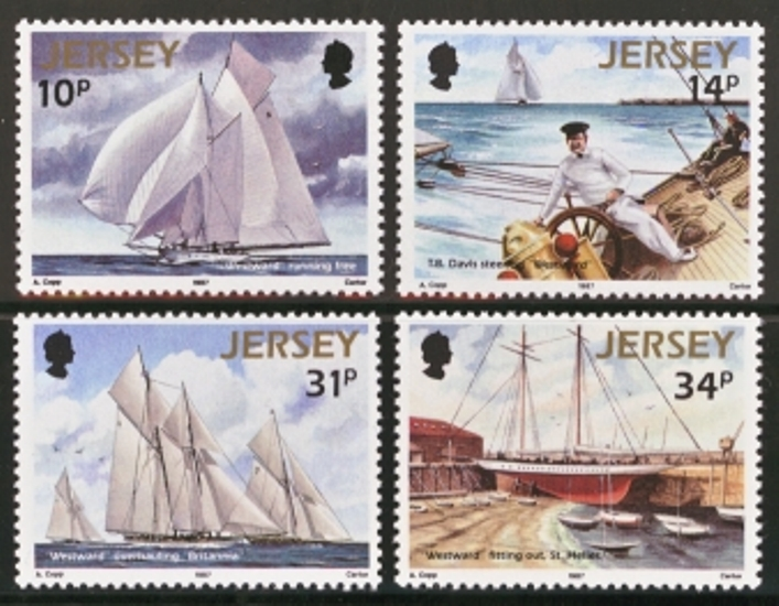 Jersey Scott 0414-0417, MNH, 1987 Sailing, set of 4