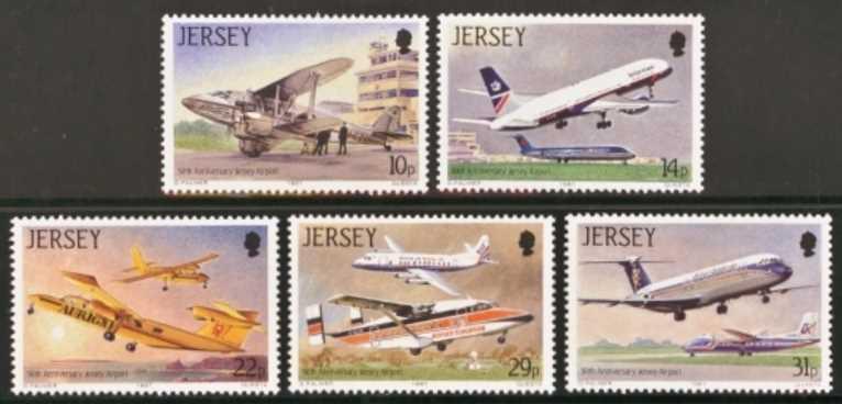 Jersey Scott 0418-0422, MNH, 1987 Aviation, set of 5