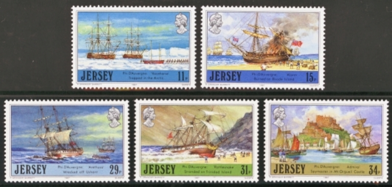 Jersey Scott 0426-0430, MNH, 1987 Adventurers of the Sea, set of
