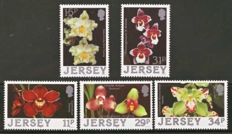 Jersey Scott 0442-0446, MNH, 1988 Orchids, set of 5