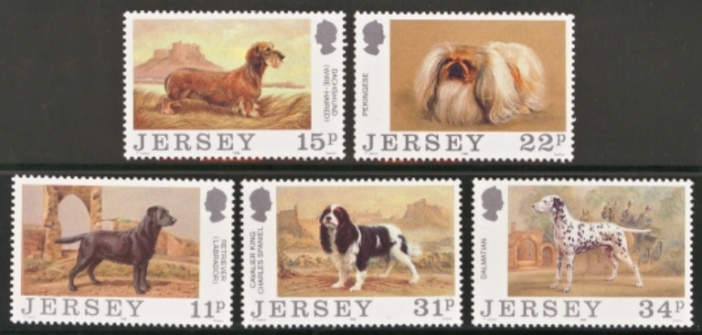 Jersey Scott 0447-0451, MNH, 1988 Dogs, set of 5