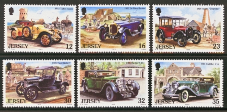 Jersey Scott 0471-0476, MNH, 1989 Vintage Cars, set of 6