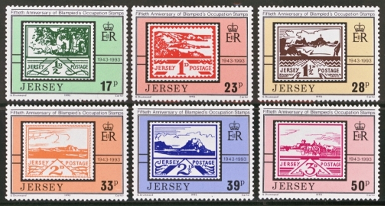 Jersey Scott 0640-0645, MNH, 1993 Occupation Stamps, set of 6