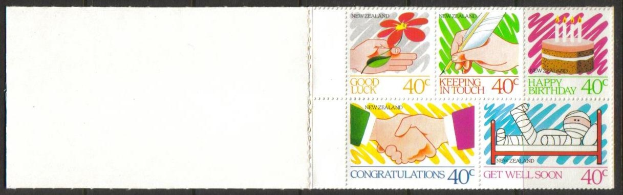New Zealand Scott 0898-0902a, MNH, Greetings Messages, booklet p