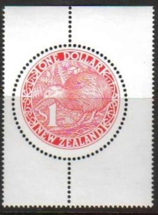 New Zealand Scott 1027-1027, MNH, Kiwi Type, Red $1 circular per